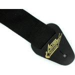 Black Guitar Strap Nylon with Leather Ends