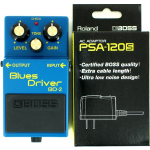 Boss BD-2 Blues Driver Guitar Distortion Pedal w/ PSA-120S Power Supply Bundle