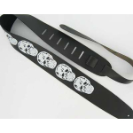 5 SKULLS Black Leather Guitar Strap X-Wide 2 1/2""