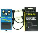 Boss BD-2 Blues Driver Guitar Distortion Pedal w/ PSA-120S & effects cables Bundle