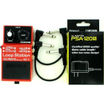 Boss RC-1 Loop Station Guitar Effect Pedal w/ PSA-120S and effects cables Bundle