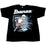 Ibanez Guitar Licking Skull T Shirt Black Extra Large