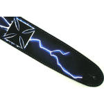 Airbrushed Leather Guitar Strap Lightning Iron Cross