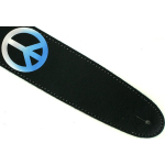 Airbrushed Leather Guitar Strap 60's Blue Peace Signs