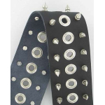Metal Spikes Grommets Deluxe Black Leather Guitar Strap