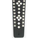 Deluxe Metal Studs Black Leather Wide Guitar Strap