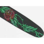 Airbrushed Black Leather Guitar Strap Red Roses