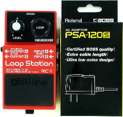 Boss RC-1 Loop Station Guitar Effect Pedal w/ PSA-120S Power Supply Bundle