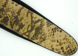 Deluxe Brown Snake Skin Padded Leather Guitar Strap