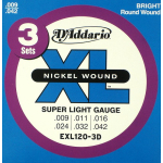 D'Addario EXL120 3D Electric Guitar Strings .009 3 PACK