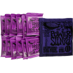 Ernie Ball Power Slinky Electric Guitar Strings 12 Sets and Purple T Shirt XL