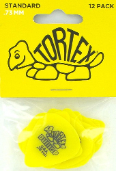 Dunlop Tortex Guitar Picks 418P73 .73mm Yellow 12 Pack