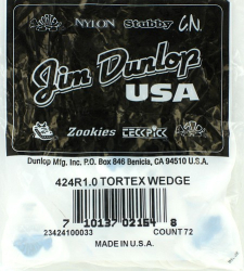Dunlop Tortex Wedge Guitar Picks 424R10 1.0mm 72 Pack