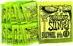 Ernie Ball Regular Slinky Guitar Strings 12 Sets and Yellow T Shirt Extra Large
