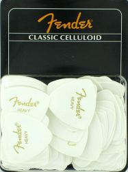Fender 346 Classic Celluloid Guitar Picks Heavy White Pack of 72