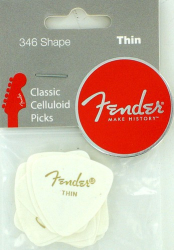 Fender 346 Guitar Picks White Thin 12 Picks