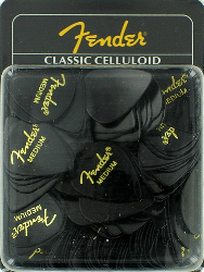 Fender 351 Classic Celluloid Guitar Pick Black Medium 144 Picks 1 Gross