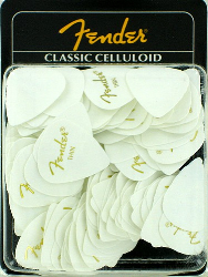 Fender 351 Classic Celluloid Guitar Picks Thin White 144 Pack