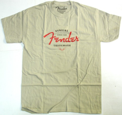 Fender Guitar Genuine Trademark Tan T-Shirt Medium