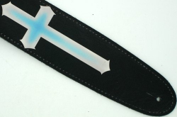 Christian Black Leather Guitar Strap 3 Crosses Trinity